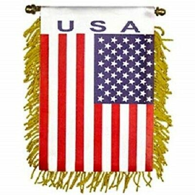 U S A  Mini Banner Flag For Car /& Home Window Mirror Hanging 2 Sided