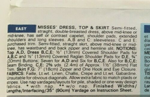 Butterick Classics Sewing Pattern 5904 Double Breasted Dress Top Shirt Skirt UC