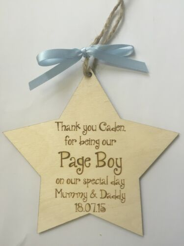 Page Garçon Cadeau de mariage faveur merci étoile en Bois Plaque Signe Shabby Chic jqp