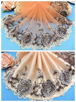 "9""*1Y Embroidered Tulle Lace Trim~Deep Peach+Black+Silver~Flowering Season~"