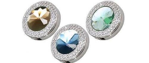 Green FOLDING PURSE HOOK Blue Double Crystal Handbag Hanger Gift Box Amber