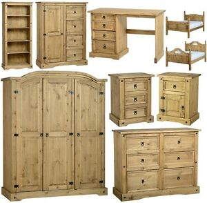 MEXICAN PINE CORONA BEDROOM FURNITURE, CHESTS BEDS ROBES *FREE NEXT ...