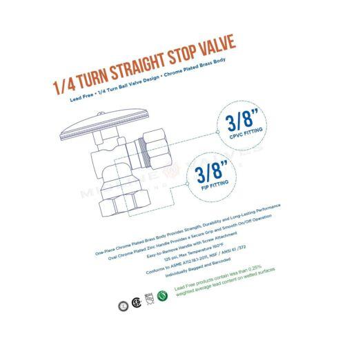 Details about  /MIDLINE VALVE VLVH1138 Quarter Turn Angel Stop Valve Compression FIP... 3//8 in