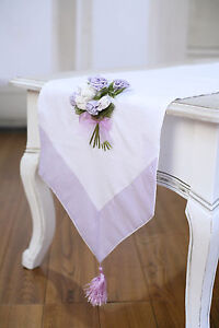 Image Is Loading Table Runner White With Embroidery Mauve Home Decor