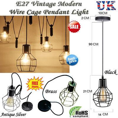 Lighting Vintage Industrial Cage Pendant Light Metal Loft Wire Ceiling Lamp Uk Ebay