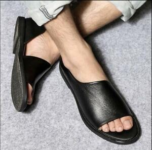 fashion mens summer leather open toe slip on loafers
