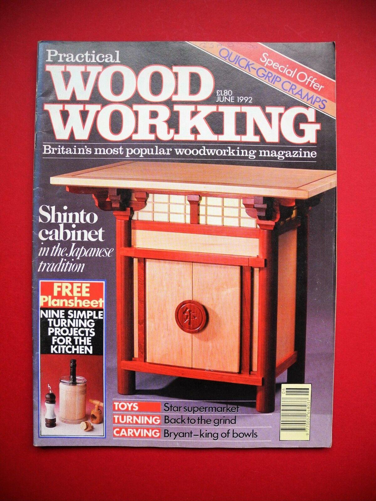 Revista mensual de trabajo de madera práctico c/w Gratis plansheet 9 proyectos June 1992.