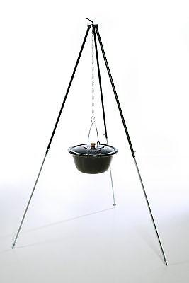 22L Gulaschkessel mit Deckel + Dreibein 1,80m mit Kesselgulasch Glühwein Eintopf