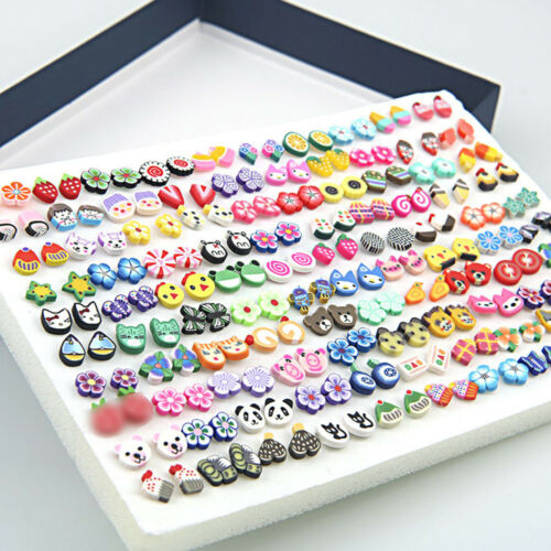 1//10//50//100Pairs Women Polymer Clay Ear stud Animals Fruit Design Earing Jewelry