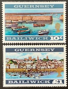 Bailiwick-of-Guernsey-Definitives-10-amp-1-Unmounted-SG27-28-MNH-Y170