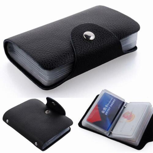 24 Cartes PU Cuir de Crédit ID Business Card Holder Pocket Wallet Purse Case New
