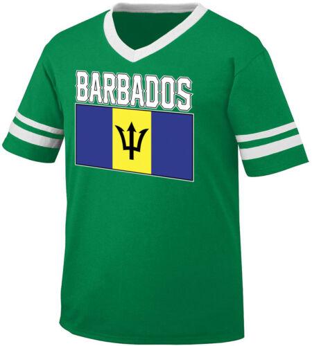 Barbados Flag Colors Font Barbadians Country Soccer BRB Men/'s V-Neck Ringer Tee