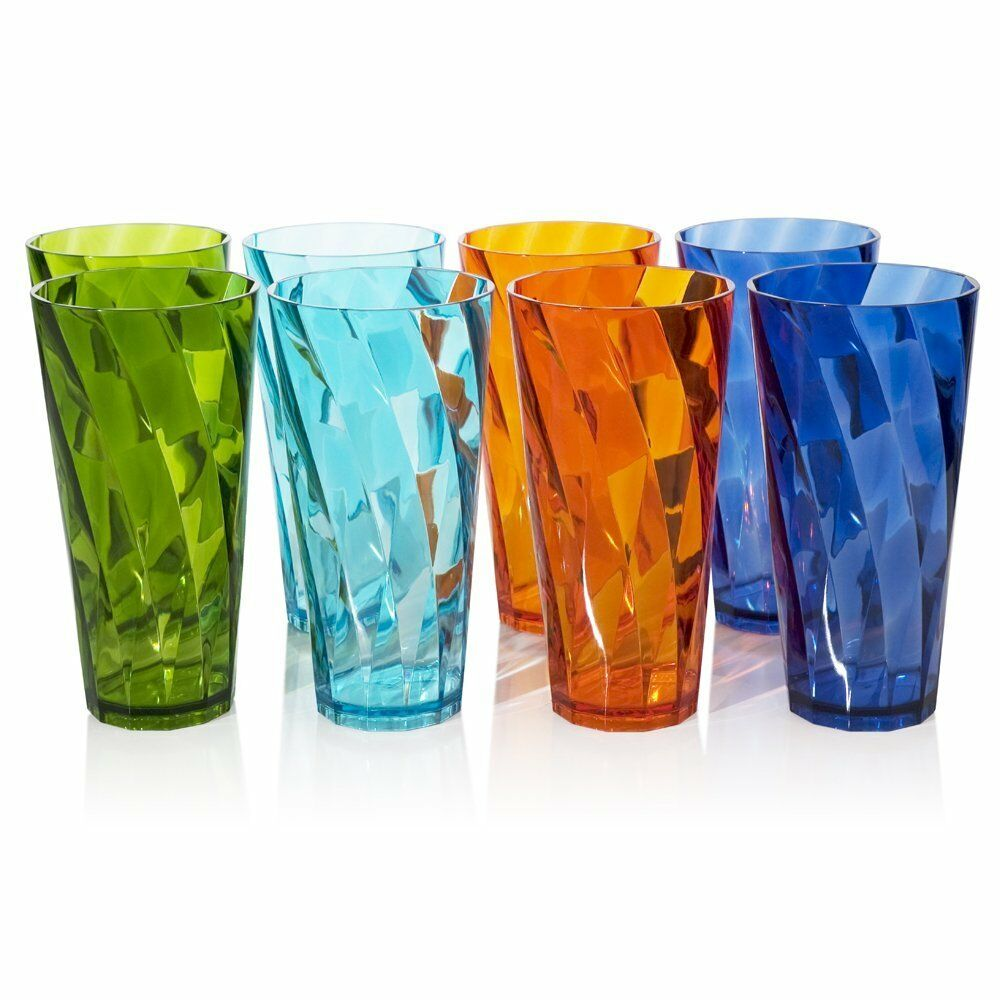 Iced Tea Cup Tumblers, 4 Assorted colors, 8pc Plastic Break-resistant, 28 Ounce