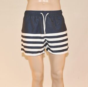 NEW-Topman-Mens-Navy-Blue-White-Striped-Swim-Nautical-Shorts-Size-S-M-L-XL-A27