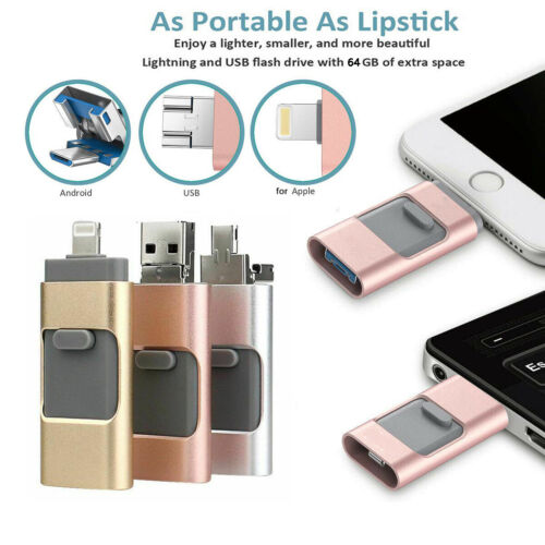 USB Memory Stick 3 in 1 For Andriod iOS PC 8//16//32//64//128GB Flash Drive OTG Pen