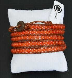 Luxus Lederarmband Wickelarmband Paris  Edelstein Perlen 5 Wrap  Sürf  Armband