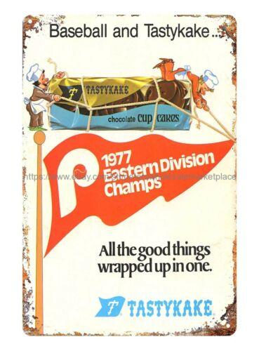 man cave living room wall 1978 Tastykake Phillies Baseball Ad metal tin sign