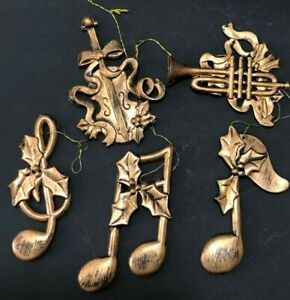 Vtg-Musical-Instruments-Notes-Christmas-Ornaments-Lot-5-Plastic-Gold