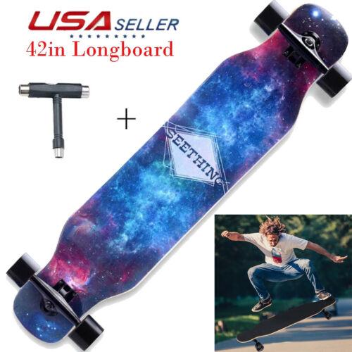 "42/""//31.5/"" Maple Longboard Skateboard Drop Through Complete Skateboard Cruiser US"