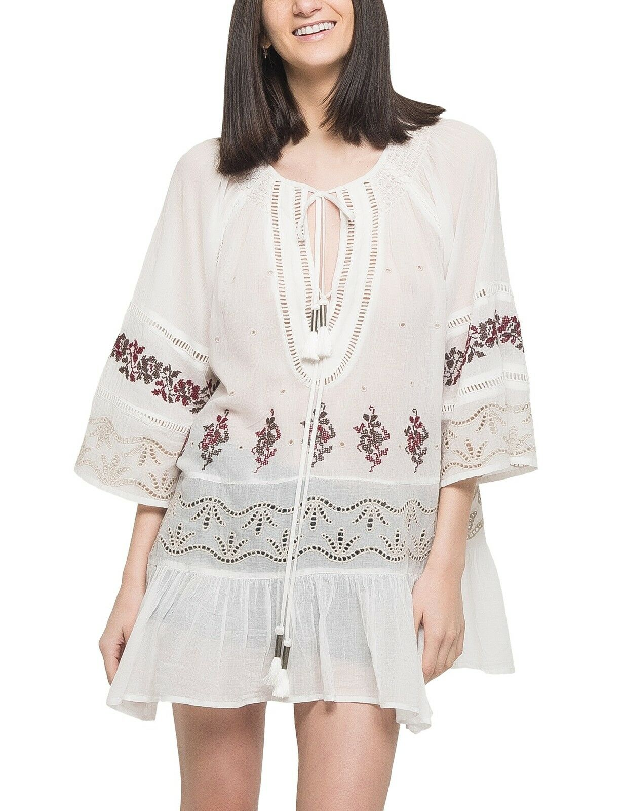 Free People damen 'You're Mine' Peasant  Tunic OB560502  Ivory Combo  Small.