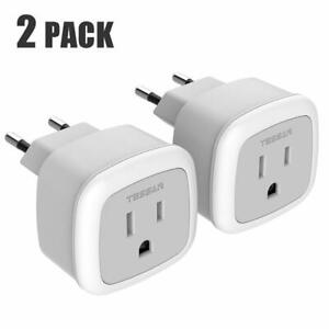 2 Pack TESSAN Power Plug Adapter with 2 USB Ports for USA to European Travel