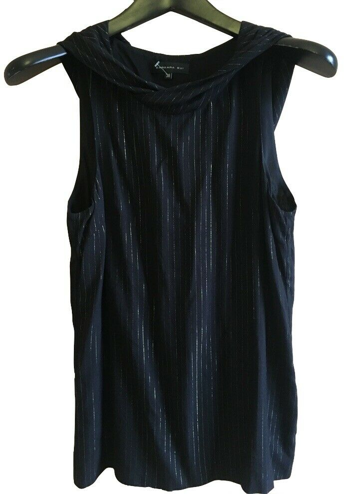 BARBARA BUI Amazing Top Shirt schwarz Stripes Lurex Hood New Collection Sz  S US 2
