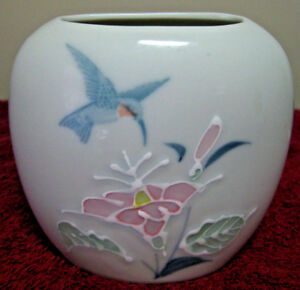 "Vintage 4"" Otagiri Hand Painted Porcelain Bouquet Vase Made Japan Floral Design"