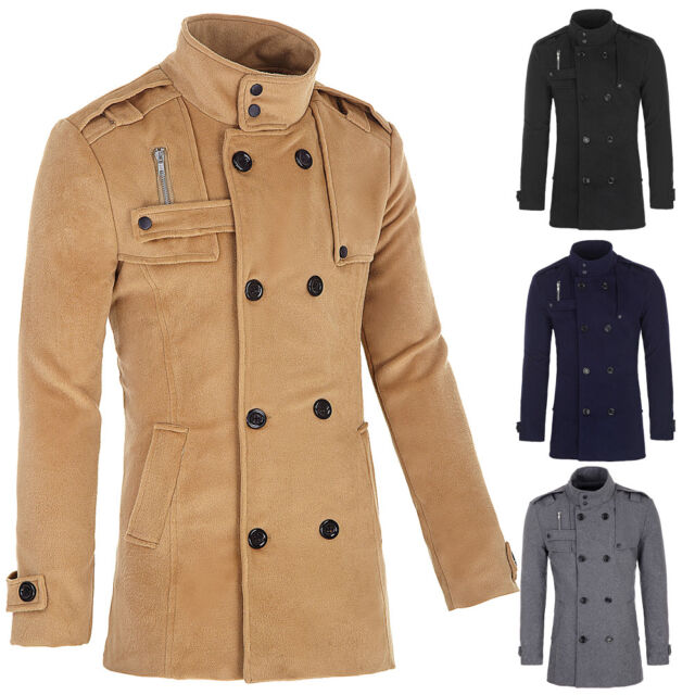 Fashion Coat Double Breasted Peacoat Long Men's Stylish Jacket Winter Dress Tops