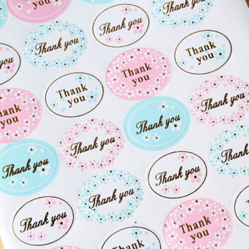 2x Golden THANK YOU Oval Stickers Labels Sealing Wedding Party Favors VGCA