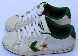 c0ef487b9d83 CONVERSE All Star Shoe White Green Star and Stripe Leather M 9 W ...