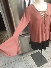 PAC SUN KENDALL & KYLIE SZ S BLOUSE LONG BELL SLEEVE TOP LACE UP NECKLINE MAUVE