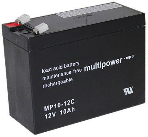 1 x Multipower MP10-12C Blei Akku Zyklenfest Pb   12V   10Ah   Faston 6,3 mm   Clever und praktisch