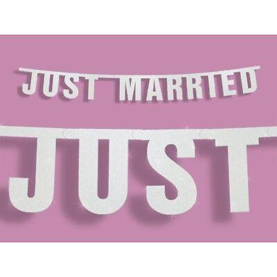 """Hochzeitsbanner """"JUST MARRIED"""" 170cm Hochzeitsgirlande Hochzeitsdekoration"""
