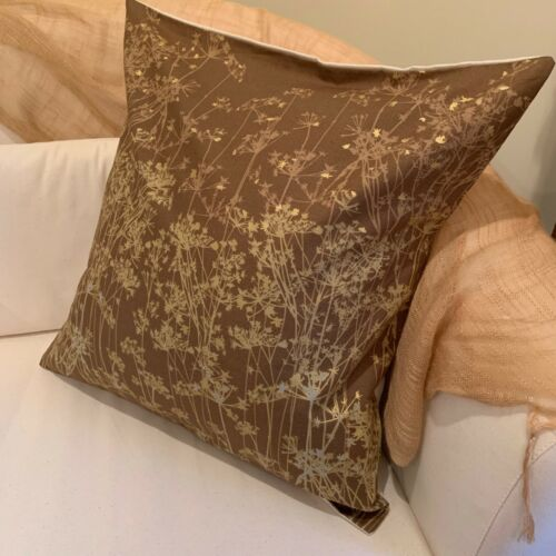 """18/"""" 45cm Gold and Brown Wildflowers Decorator Cushion Pillow Covers."""