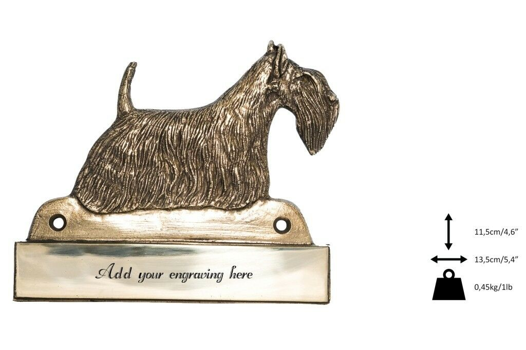 Scottish Terrier  brass tablet Welcome with image of a dog, Art Dog type 2