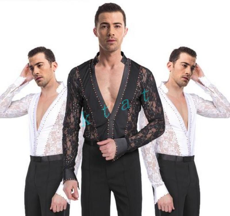 Mens Latin Ballroom Set Dance Costume Boys Salsa Lace Dancewear Suit Shirt+Pants