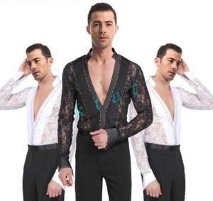 15a216efe Mens Latin Ballroom Set Dance Costume Boys Salsa Lace Dancewear Suit ...
