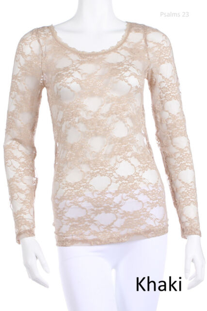 Women's SEXY Floral Sheer See Through LACE LONG SLEEVE Tunic TOP S M L