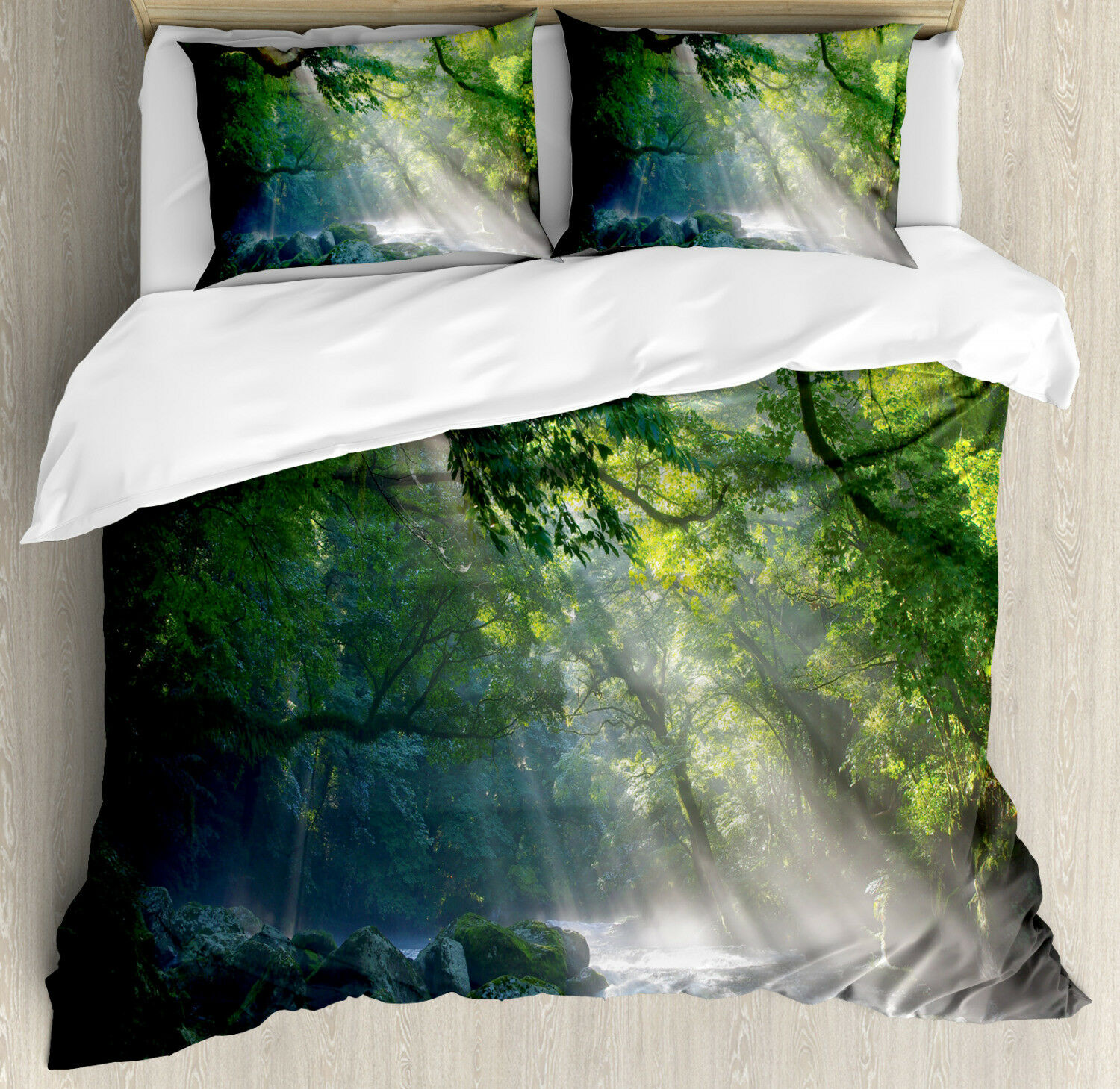 Nature Duvet Cover Set with Pillow Shams Jungle Sunlight Trees Print