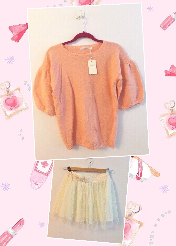 2PC SET-Japanese Angora Short Sleeves Sweater Top + White Lace Skort