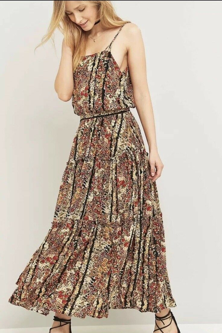 New Free People Valerie Maxi Dress Tiered Spring Garden Floral Multicolord XS