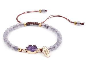 Bracelet with Stone Pen Natural Gemstone 4mm Bead Macrame Healing Reiki UKselle