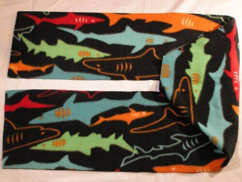 Sharks on Black Fleece Scarf no fringe