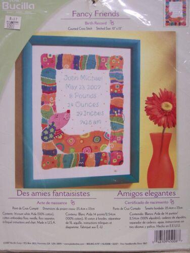 "Bucilla Counted Cross Stitch Kit 10/"" x 13/"" Birth Record /""Fancy Friends/"" Baby"