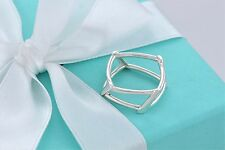 RARE Tiffany & Co Frank Gehry Silver Open Torque Square Ring Size 6 w/ Packaging