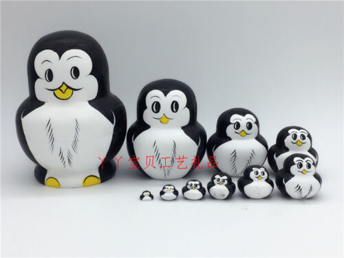 Russian Nesting Dolls Matryoskha Dolls Wooden Penguin Handicraft 10 pcs set