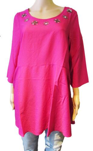 ex Evans Tunic Top 3//4 Sleeve Round Neck Plus Size 16-26 Dark Pink were £35