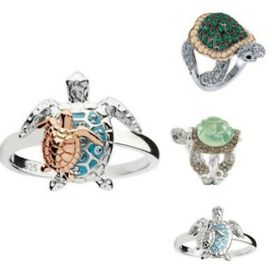925 Silver Emerald Ring Women Finger Turtle Rings Wedding Engagement Jewelry