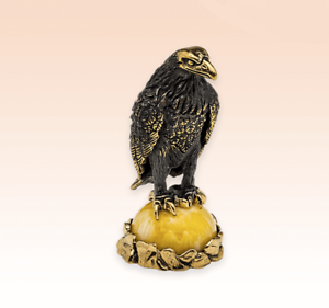 Crow in nest amber Miniature Bronze Figurine bird sculpture art rare