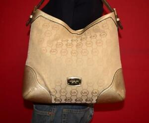 MICHAEL-KORS-Large-Leather-Gold-Signature-Hobo-Shoulder-Shopper-Tote-Purse-Bag